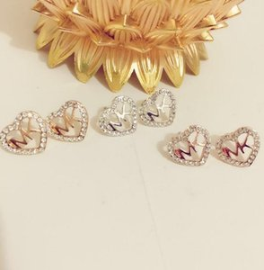 Classic Women Luxury Heart Shape Letter Rhinestone Earring Fashion Lady Jewelry Ear Stud