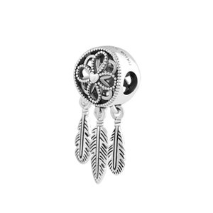 New 925 Sterling Silver Bead Charm Openwork Flower Feather Spiritual Dream Catcher Pendant Bead Fit Charm Bracelet Diy Winsome Jewelry