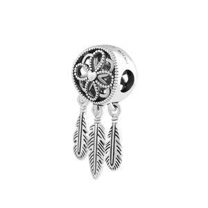 Nuovi monili 925 Argento Perle Charm Openwork del fiore della piuma Spirituale Dream Catcher Ciondolo branello Marca fascino bracciale fai da te