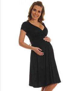 Manga corta verano nueva maternidad profundo con cuello en v vestidos de mujer ropa elegante embarazada vestidos largos azules