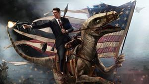 El presidente de EE. UU. Drives Dinosaur Flag Battle Album Poster Giclee Art Canvas HD Print Wall Animal pintura al óleo Wall Art pintura decoración del hogar