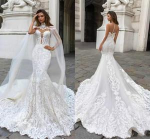 Dubai Arabisch 2019 Meerjungfrau Brautkleider Ärmellos Lange Gericht Zug Spitze Applique Brautkleid Brautkleider BA9313