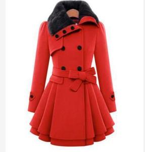 Nuova giacca bowknot di lana femminile sezione lunga coreana 2018 autunno inverno slim cappotto di lana cappotto caldo cappotto 2018 moda plus size 4XL caldo