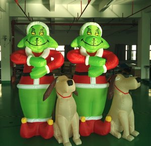 Protable grinch airblown inflatable 야외 Christmas'Day 장식 2.4m 녹색 grinch