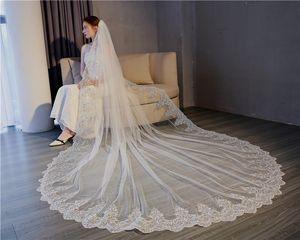 vraies photos princesse voile de mariage bon marché voiles de mariée de lacets longues une couche personnalisée made dentelle appliquée Edge Mariée voile livraison gratuite