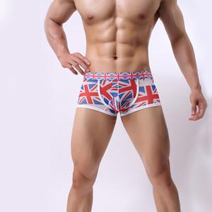 Intimo Boxer Uomo UK Flag stampato Boxer a vita bassa Pantalone traspirante Uomo Mutande a vita bassa Mutande Vedere attraverso