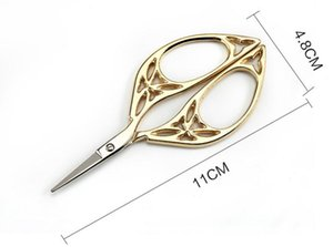 Tijeras de oro de la vendimia diseño hueco costura bordado de metal sastre tijera hilo recortador envío libre al por mayor SN1776