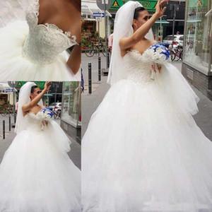 Lüks Balo Gelinlik Sevgiliye Dantel İnciler Gelinlikler Artı Boyutu Gelin Elbise Kat Uzunluk