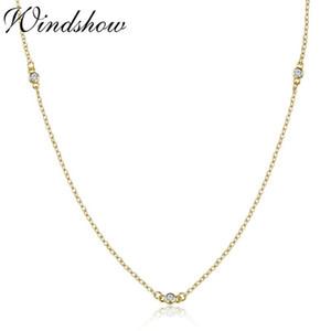 Slim carino argento sterling 925 colore oro rotondo CZ pietre catena collana girocollo per le donne ragazze gioielli Kolye Collares Collier