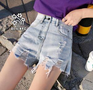 Denim şort Geniş bacak sıcak pantolon kadın Giyim kadın Kot Rahat moda giysiler Kovboy pantolon Denim şort Wathet Delik A7520 # Yırtık #