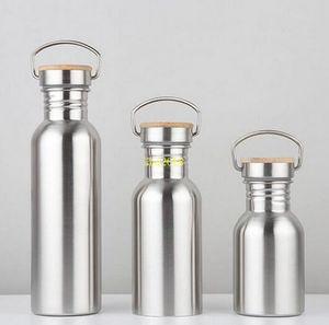 100pcs التي 750ML على نطاق واسع الفم فراغ زجاجات معزول السفر زجاجة دراجات الفولاذ المقاوم للصدأ المياه والتعامل مع