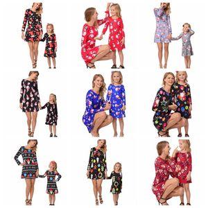 12 projetos da família de Natal de harmonização vestido da cópia Mulheres Meninas Vestidos manga comprida Mãe Filha Outfits Família roupas combinando DHT504