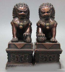 8 China Palace Bronze Copper Fengshui Guardiano Porta Foo Fu Dog Lion Statue Pair