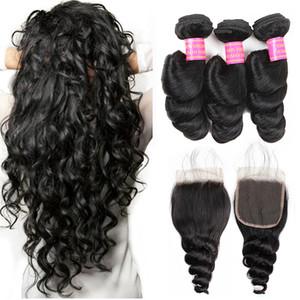 8A Свободная волна бразильские Виргинские волосы ткет 100% необработанные расширения человеческих волос 3 пучка с кружевной застежкой волосы переплетаются пучки оптом