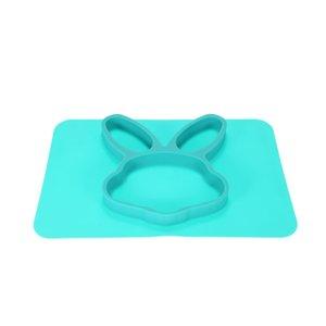 Bebek Bebek Çocuklar için Placemat Plakalı Bowl bulaşığı Bölünmüş 2'de 1 kasa Su geçirmez Silikon Yeşil Tavşan