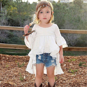 Vendita al dettaglio bianco rosso nero neonate vestito asimmetrico bambini cotone flare manica party dress moda carino tutu dress bambini abiti firmati