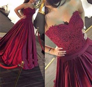 Bourgogne dentelle robes de bal corset lacer une ligne robes de soirée de bal d'étudiants formelles robes de soirée de bal