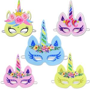 Glitter Unicorn carta mascherina mascherine del fiore del Rainbow Unicorn di Halloween per i capretti la festa di compleanno del bambino favori Boutique Forniture Cosplay BY0378