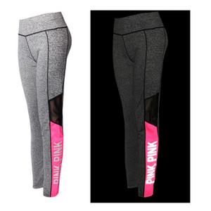 Yoga Legging Leggings Corrida Noturna das Mulheres Reflexivo Rosa Cintura Alta Elástico Yoga Workouts pants Apertado Calça De Jogging Plus Size XS-XXXL