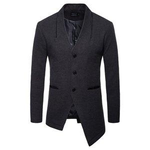 Aowofs رجل الصوف السترة الخامس الرقبة واحدة اعتلى الصوف معطف الرجال الشق تنحنح دعوى سترة غير النظامية السترة الرجال معطف جلد جيب