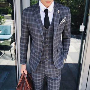 HOBO 2018 men suit is the groom's best man suit three-piece grid business career cultivate one's morality dress tide