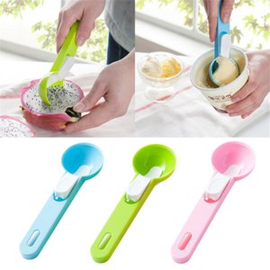 1 pz Cuchara de Helado Colorida Alimento -Grade Plastic Dig Ice Cream Ball Sandía Fruit Digging Spherical Shape Cream