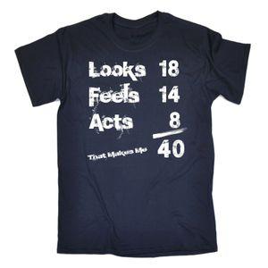 Looks Feels Acts 40th T-shirt Tee 40 Funny Birthday Gift 123t Подарок для него Футболка с длинным рукавом Hipster Teens Summer Mens с коротким рукавом