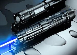 Güçlü 450nm 5000000 m 5in1 Güçlü güç askeri mavi lazer pointer ile wicked lazer torch 5 yıldız kapaklar