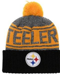 Sombrero de punto con gorro y gorros de Pom Winer con reverso de clima frío y reverso de la línea lateral, frijol de Pittsburgh