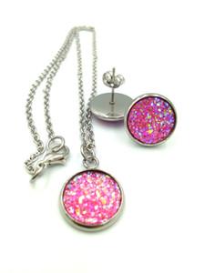 Nuova collana di pietre naturali della Boemia Orecchini set Druzy Orecchini in cristallo Druzy resina per le donne Gioielli di lusso