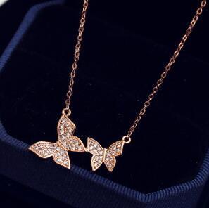 Elegante Zirkon Doppelschmetterling Anhänger Halskette für Frauen Hochzeits Party Kragen Schmuck Mode Kette Choker Halskette als Geschenk