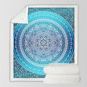 Nuevo diseño Ropa de cama Outlet Sherpa Throw Blanket Turquesa Paisley Mandala Sherpa Fleece Blanket Super Soft Cozy Velvet Plush Blanket