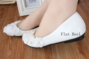 White Low-Heeled Heart Crystal Lace Bridal Shoes 2018 Woman Pumps Slip On Cheap Fashion Shoes