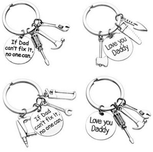 Se o pai não pode consertá-lo ninguém pode te amar papai chave de fenda chave de martelo machado viu chave chave ferramenta encantos chaveiro presente para o pai dia dos pais