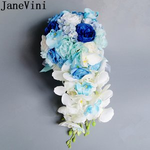 JaneVini Royal Blue Waterfall Bouquet di fiori di seta Artificiel Vintage Pink Wedding Bouquet da sposa Rose Crystal Bridal Brooch Bouquet Mariage