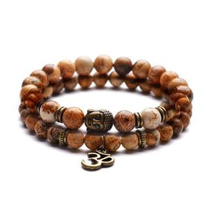 6 8 milímetros mistura e do fósforo casais ioga cura pedra natural desenho de ágata pulseira preta antigo bronze OM Buddha cabeça pulseira nova 2018