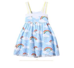 Niñas Rainbow Vestir Nube Cielo Impreso Diseño de Borde de Encaje Falda de Suspensión Suave Transpirable Tela de Algodón Fresco Vestidos de Verano B11