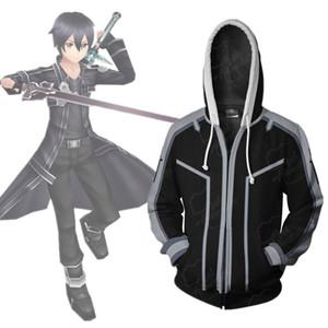 아시아 사이즈 일본 애니메이션 도예 온라인 Kirito Cosplay Costume 3D 긴 소매 지퍼 코트 자켓 까마귀