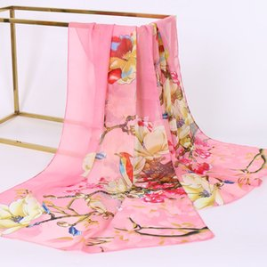 Foulard en soie imprimé femmes de mousseline de soie crème solaire vêtements urbains accessoires vente chaude tulipe longue serviette en gros foulards