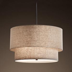Paño moderno Luz Colgante Creativo Doble de Lino Lámparas colgantes de Arte Restaurante Sala de estar Dormitorio Blanco Negro Decoración Lámparas