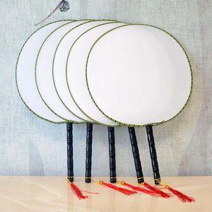 رسمت باليد فارغة جولة الحرير مروحة مقبض خشبي شرابة الطلاب الأطفال diy الفنون الجميلة اللوحة متعة الصينية اليد المشجعين