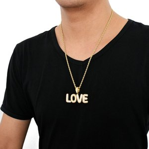 New Hip Custom Name Pendant Bubble Letters Necklaces Chain Cubic Ice Small Hop Zircon Men's Out Jewelry Rope & Two Color Vkeaj