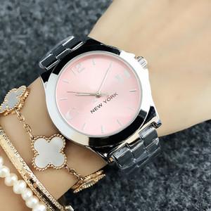 Mode-Marken-Frauen Mädchen New Yorker Stil Zifferblatt Metall Stahlband Quarz-Armbanduhr CO 6123