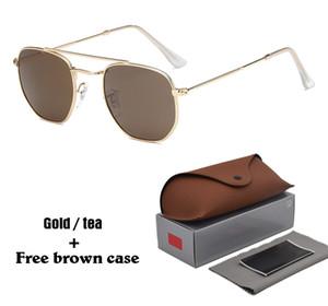 Бренд Дизайнер Солнцезащитные очки Для Мужчин Женщина Солнцезащитные очки Старинные Металлические Шестиугольная Оправа Светоотражающие Покрытия Очки с чехлами и коробкой