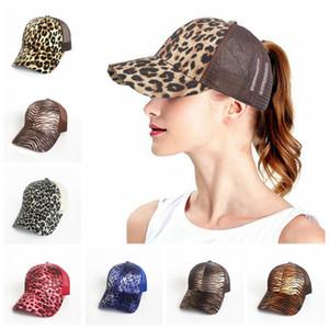 Leopard Imprimir Ponytail Baseball Cap 9 Cores Bonés Bonés Mulheres Messy Bun Casual Hip Hop Snapbacks OOA5284