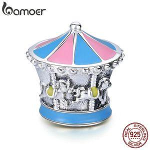 100% 925 sterling silver Merry-Go-Round colore smalto perline perline fit braccialetto di fascino braccialetti fai da te gioielli regalo fare