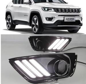 1 juego de luces LED para automóviles DRL con función de señal amarilla Relé Luz diurna Luz diurna para Jeep Compass 2016 2017