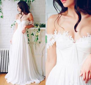 Beach Wedding Chiffon A line Long Bridal Gowns With Pleats Floor Length Off-Shoulder boho Wedding Dresses Cheap Custom Made