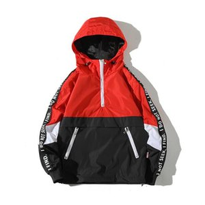 Asstseries Color Block Patchwork coupe-vent capuche Vestes Hommes Hip Hop Full Zip Pull Up Survêtement Veste mode Streetwear