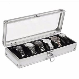 Caja de reloj 6 de cuadrícula Espacios de Inserción Relojes de exhibición de la joyería Caja de almacenamiento caja de aluminio de la decoración de la devanadera